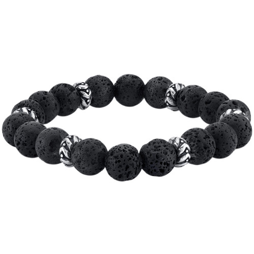 Spartan Sterling Silver and Black Lava Gents Bead Bracelet - *Special Order