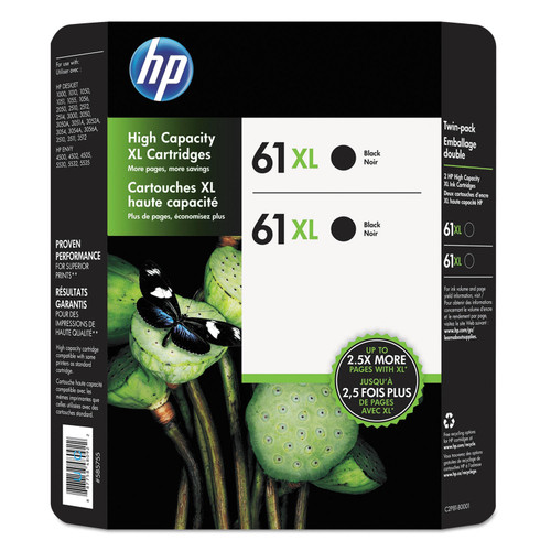 HP 61XL High Yield Original Ink Cartridge, Black (2 pk., 480 Page Yield) - *Special Order
