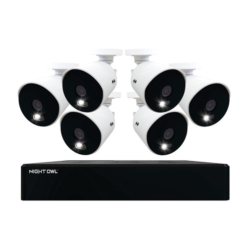 Night Owl Expandable 12 Channel Wired DVR with (6) 4K Ultra HD Wired Spotlight Cameras and 2TB Hard Drive - *Special Order