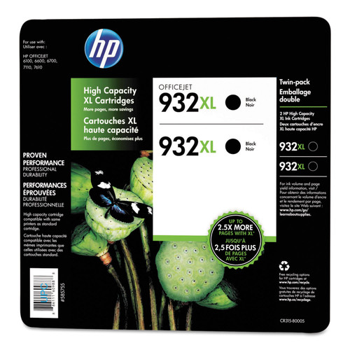 HP 932XL High Yield Original Ink Cartridge, Black, 2 Pack, 1,000 Page Yield - *Special Order