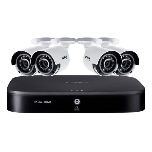 Lorex 8 Channel 4K DVR with 2TB Hard Drive and 4 4K Cameras with Voice Control Features - *Special Order