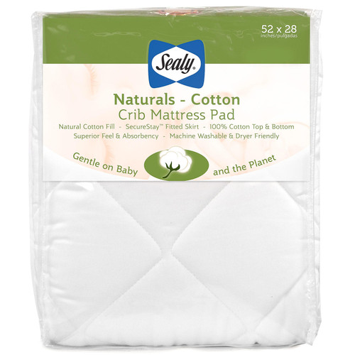 """Sealy Baby Naturals Cotton Crib and Toddler Mattress Pad (52"""" x 28"""") - *Special Order"""
