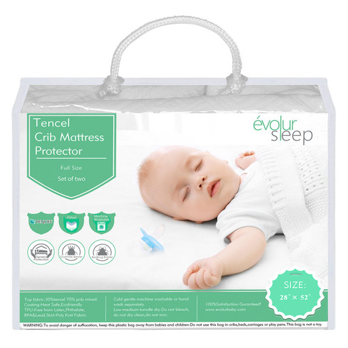 Evolur Full-Size Crib Tencel Waterproof Mattress Protector and Fitted Sheet, White - *Special Order