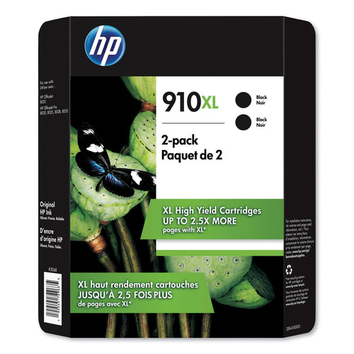 HP 910XL, High Yield Black Original Ink Cartridge, 2 Pack - *Special Order