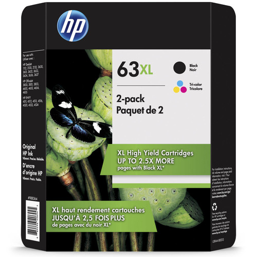 HP 63XL, (L0R44BN) High-Yield Original Ink Cartridges, Black/Tri-Color (2 pk.) - *Special Order