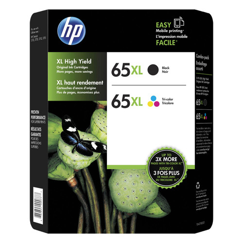 HP 65XL High-Yield Original Ink Cartridge, Black/Tri-Color (2 pk.) - *Special Order