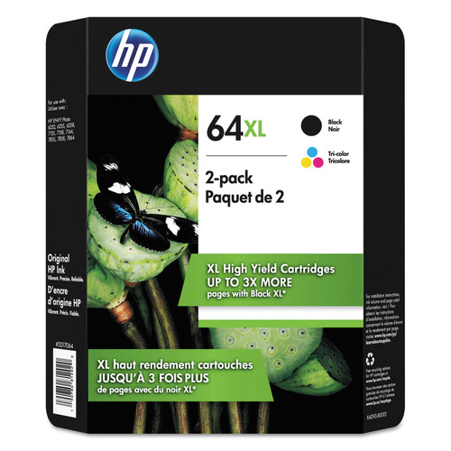 HP 64XL High Yield Original Inkjet Cartridge, Black/Tri-Color, 2 Pack - *Special Order