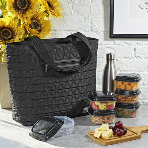 Quilted Luxe Insulated Laptop Bag with Zipper Front Pocket and Food Containers (Assorted Colors) - *Special Order
