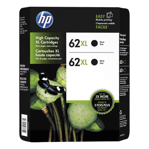 HP 62XL High Yield Original Ink Cartridge, Black, 2 Pack, 600 Page Yield - *Special Order