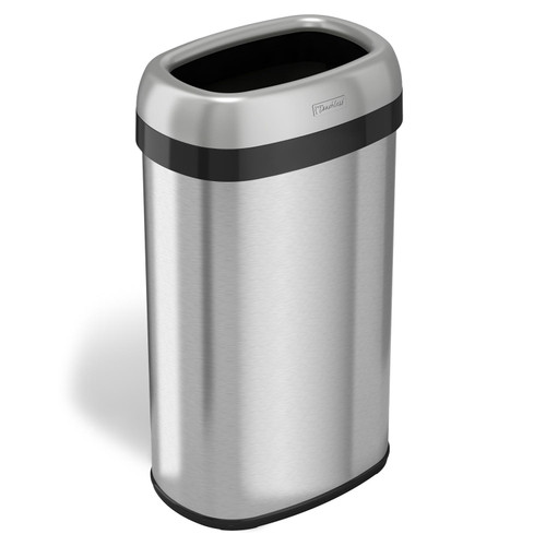 "iTouchless Dual-Deodorizer Oval Open Top Trash Can, Stainless Steel (16 gal., 12"" opening) - *Special Order"