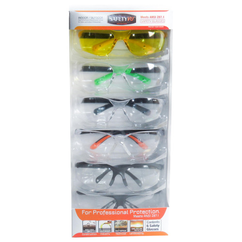 SafetyVU Safety Glasses, 5 Clear and 1 Yellow, (6-pk.) - *Special Order