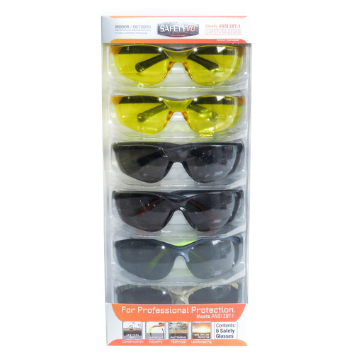 SafetyVU Safety Glasses, 4 Smoke and 2 Yellow, (6 pk.) - *Special Order