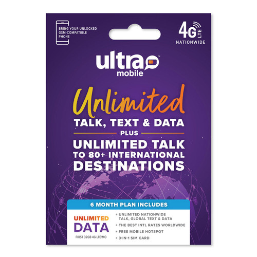 Ultra Mobile 6 Month Unlimited Plan SIM Kit - *Special Order