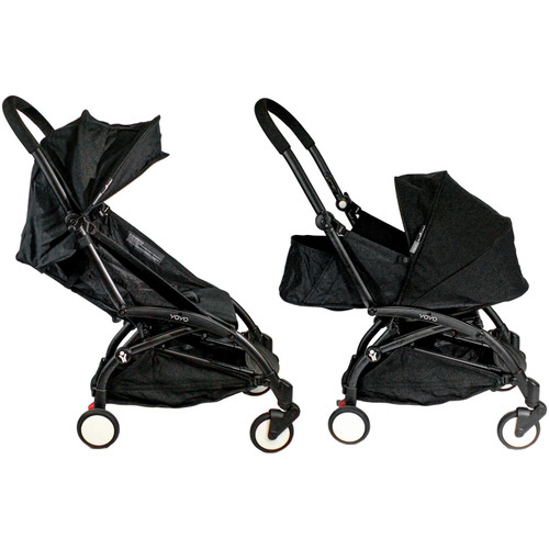 Babyzen YOYO + 0+ and 6+ Black Stroller with Bassinet, Seat and Canopy (Choose Your Color) - *Special Order