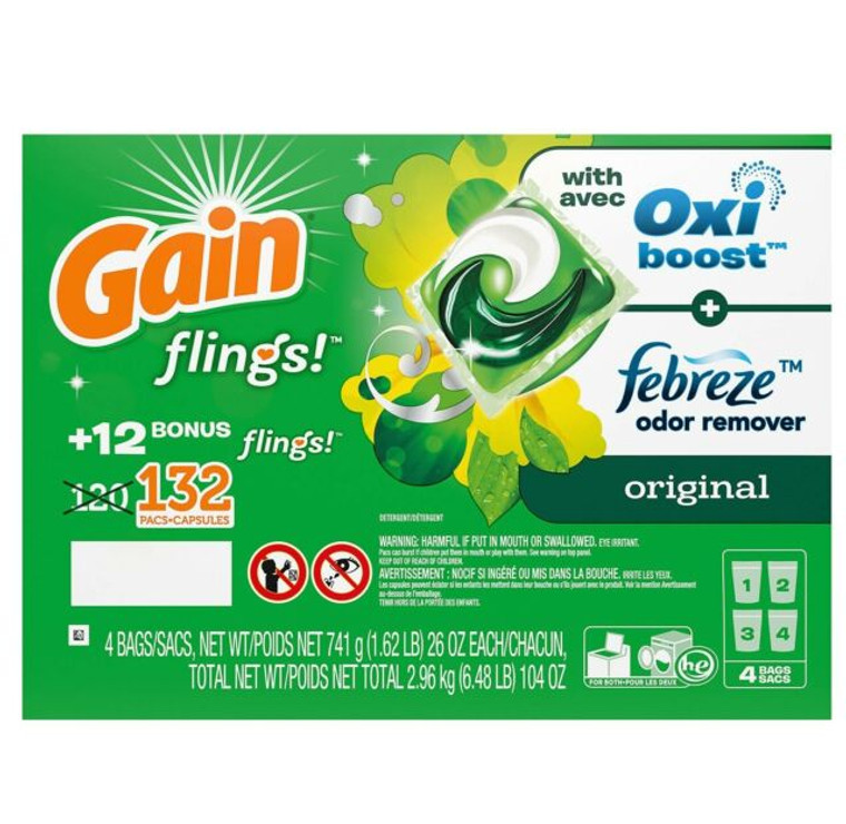 GAIN 132CT FLINGS + A/BOOST LAUNDRY DETERGENT PACS