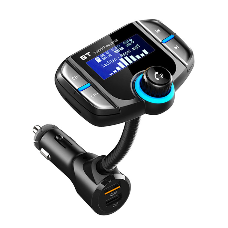 Wireless transmits phone call & auo playing to the car FM stereo system via BT. Switch Hands-free mode automatically from music playing status when receiving phone call. Flexible goose-neck to find your better view. Display the Itris and incoming phone number. Support read Micro SD card up to 32 GB. support line-in/out function. Dual USB charging Ports: QC3.0+5V/2.4A