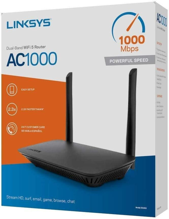 The AC1000 Dual-BandWifi Router(WiFi 5) delivers enhanced speed, range, and security for all your networking needs. With speeds up to 2.3x faster than N (WiFi 4)  Now every home can enjoy the power of WiFi 5 Technology. The Linksys AC1000 Dual-Band WiFi 5 Router delivers enhanced speed, range, and security for all your networking needs. With speeds up to 2.3x faster than WiFi 4, you'll be able to swiftly stream HD, surf, email, game, browse, and chat  With its dedicated 2.4 GHz and 5 GHz bands, the AC1000 Dual-Band WiFi 5 Router doubles the bandwidth to maximize throughput while keeping interference to a minimum. The result is a stable, reliable connection across all your devices.  This router uses a browser-based installation that requires no CD. Using an iPad, tablet, smartphone, or computer, you can be online in minutes.  Featuring WPA2 encryption and an SPI firewall, the AC1000 Dual-Band WiFi 5 Router uses advanced security technologies to help keep your network safely connected.
