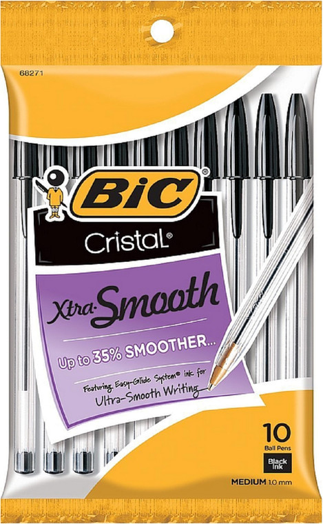 BIC Cristal Xtra Smooth Ball Pen, Medium Point (1.0mm), Black, 10 Count  - *Ships from Miami*