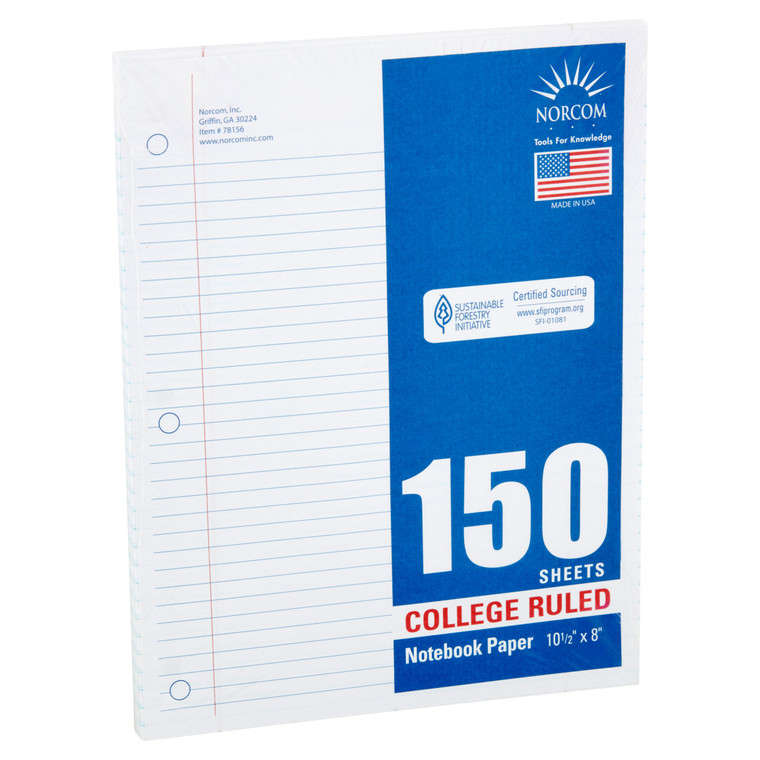 """Norcom Filler Paper, College Ruled, 150 Pages, 8"""" x 10.5"""", 78156  - *Ships from Miami*"""