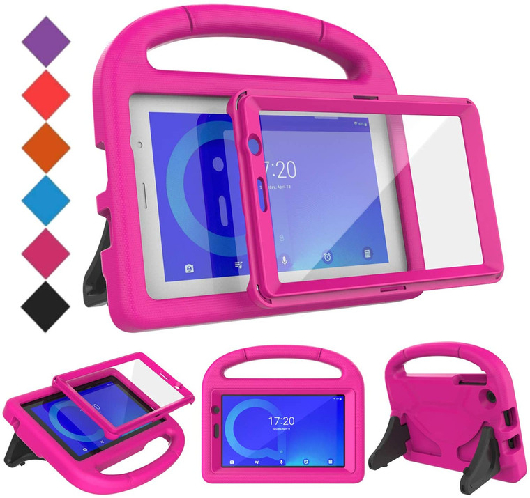 Alcatel 1T 7 inch Case with Built-in Screen Protector, Shockproof Light Weight Handle Stand Kids Case, Rose