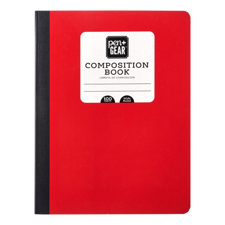 Pen + Gear Composition Book, Wide Ruled, 100 Pages, Red  - *Ships from Miami*