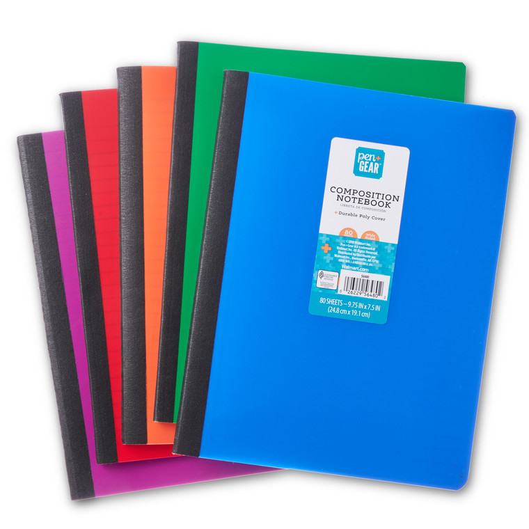 Pen + Gear Poly Composition Book, Wide Ruled, 80 Pages, Assorted Colours