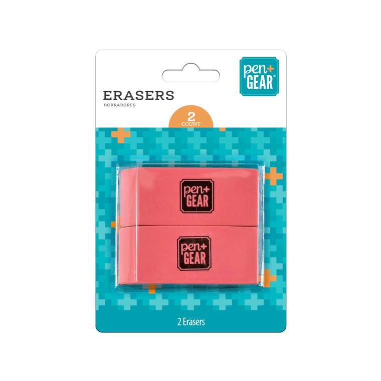 Pen + Gear Pink Erasers, 2 Count