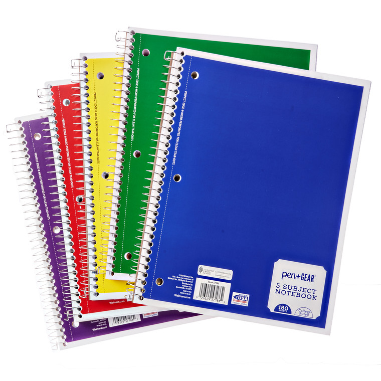 "Pen + Gear 5-Subject Spiral Notebook, College Ruled, 180 Pages, 8"" x 10.5"", Color Choice Will Vary  - *Ships from Miami*"