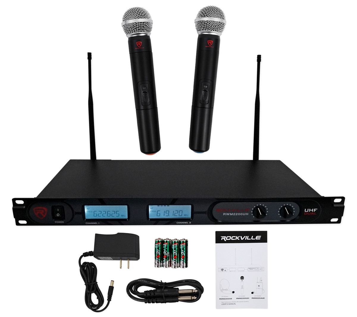 Rockville RWM70U Dual UHF Wireless Microphone For Church Sound Systems