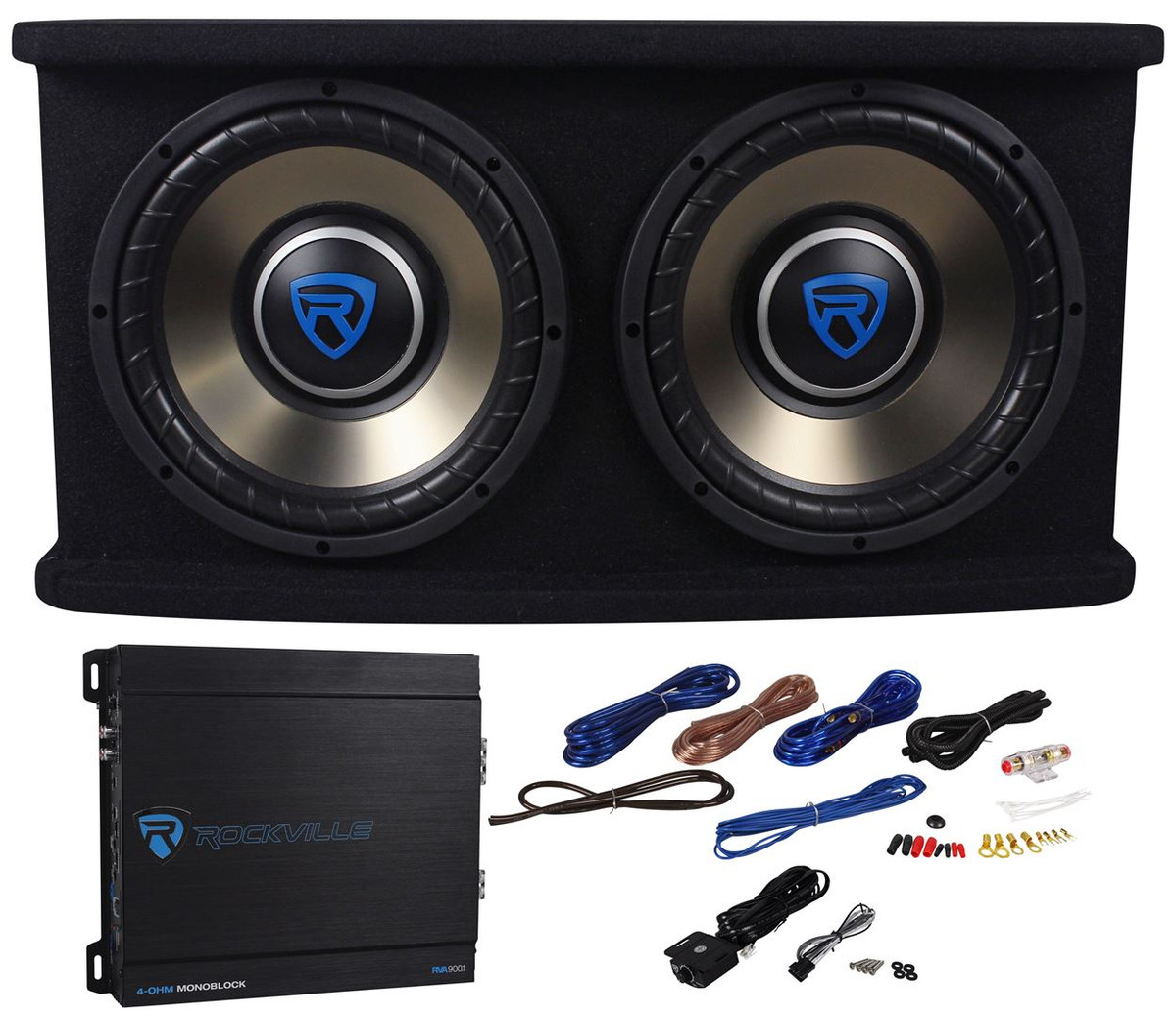 Cheap Car Audio Packages >> Rockville Rvspl10 2 Dual 10 1500w Car Subwoofer Sub Box Amp Wires Bass Package
