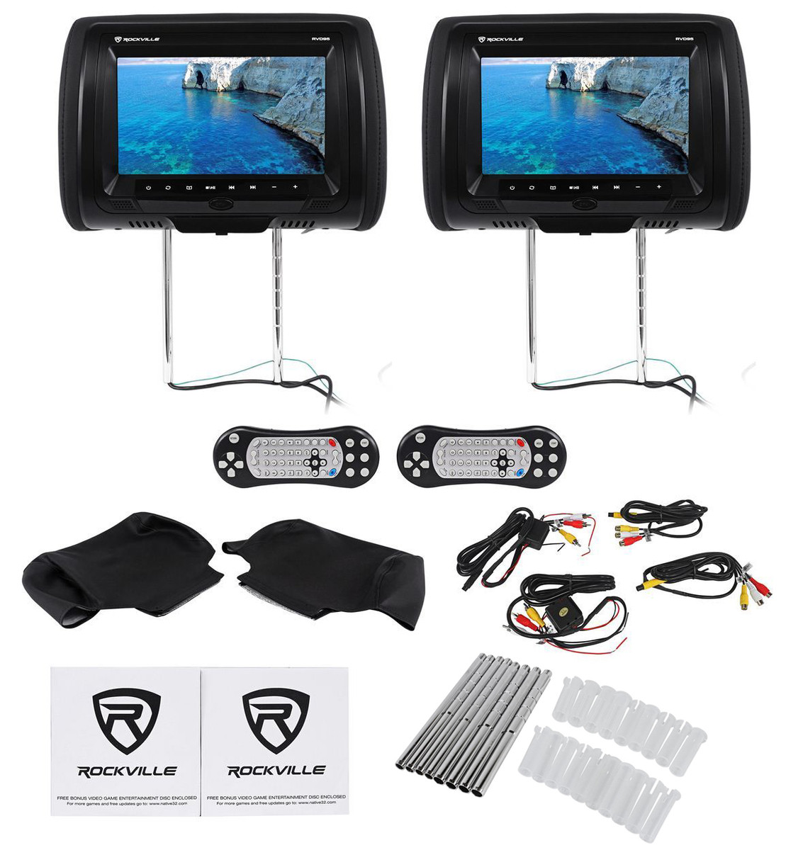 "(2) Rockville RVD95-BK 9"" Black Dual DVD/USB/SD Car Headrest Monitors +  Games"
