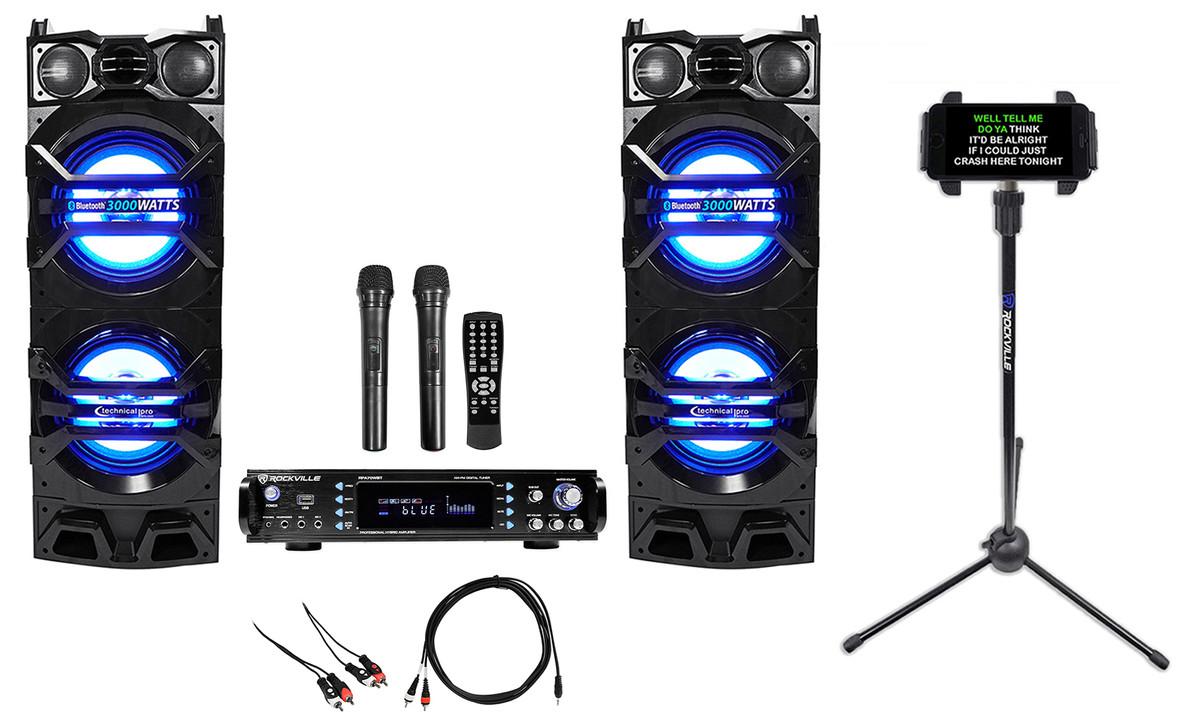 Rockville Bluetooth Karaoke Machine System+2)Dual 10