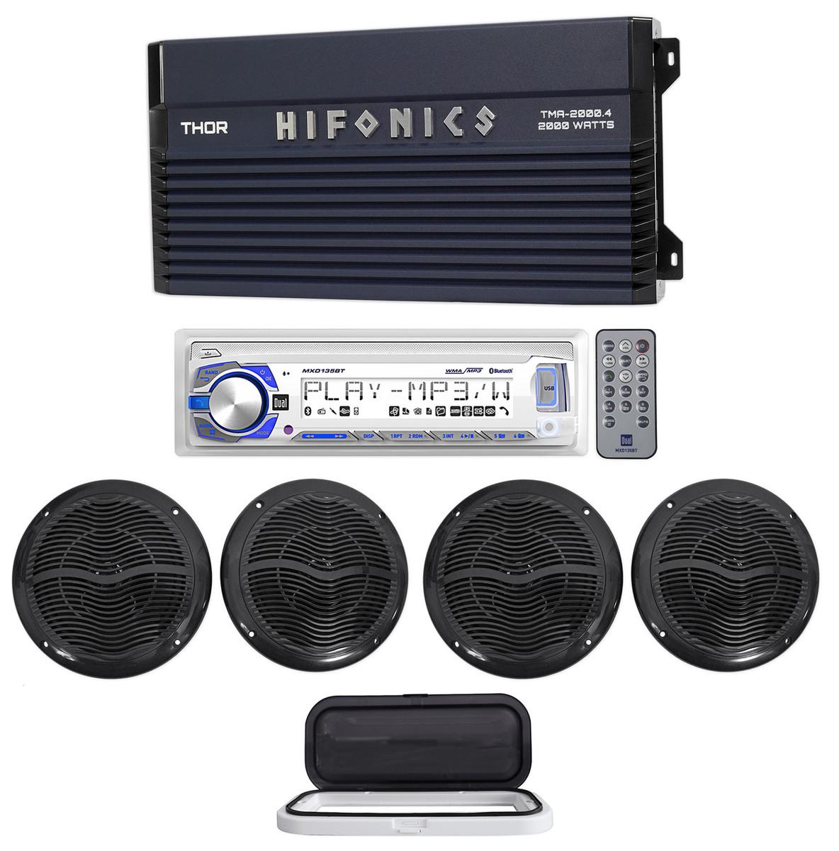Hifonics TMA-2000 4 2000w 4-Ch Marine Boat Amplifier+Receiver+(4) 6 5