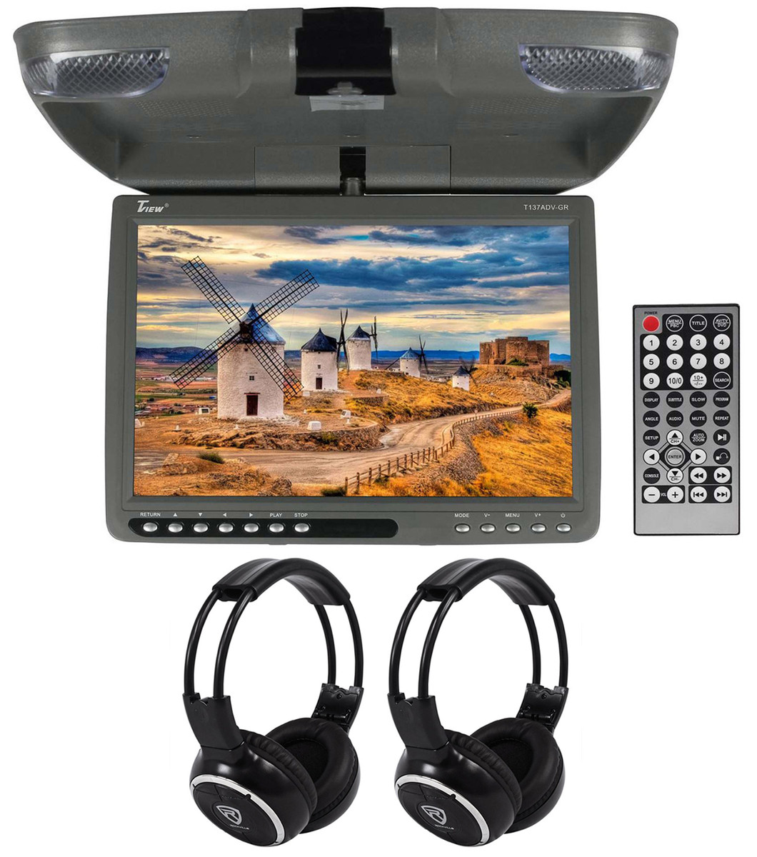 Tview T137adv 13 Gray Car Dvd Receiver Usb Sd Dome Light Wireless Headphones Rockville Audio