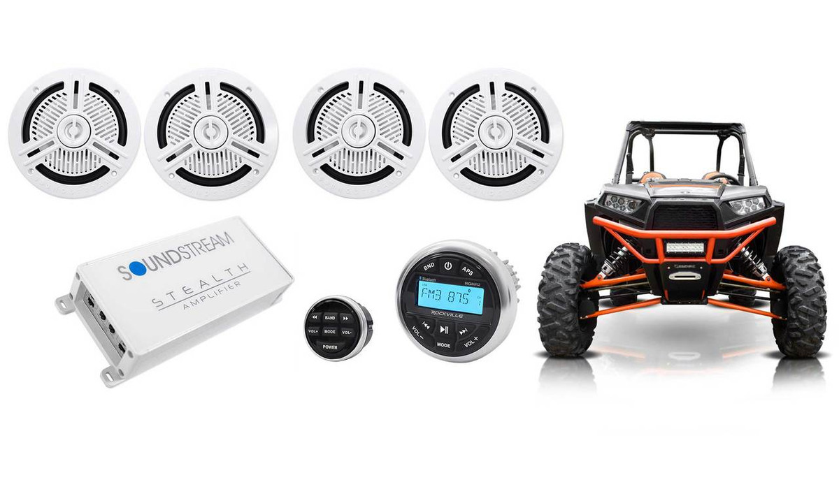 Rockville RGHR2 Gauge Hole Bluetooth Player+Wired Remote for ATV//UTV//RZR//Polaris