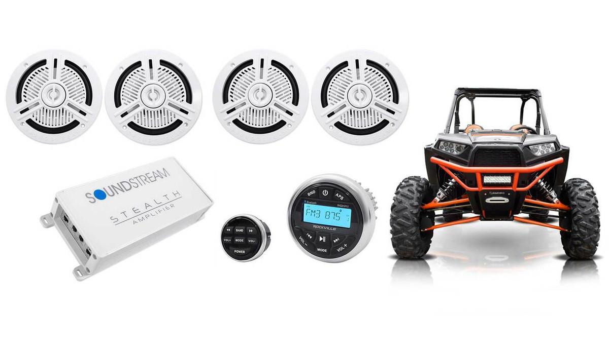 1000W AMP Bluetooth Motorcycle ATV UTV Polaris Audio MP3 Radio Amplifier System