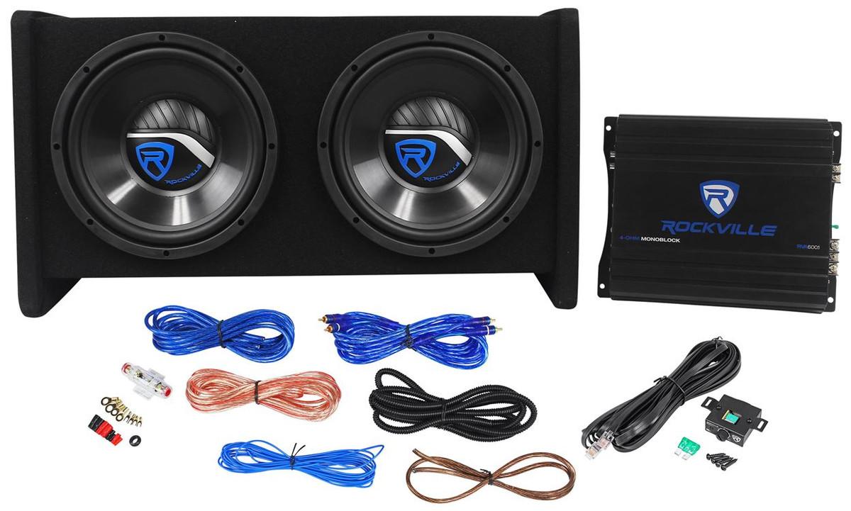 """Rockville RV10.2A 1000w Dual 10/"""" Car Subwoofer Enclosure+Mono Amplifier+Amp Kit"""