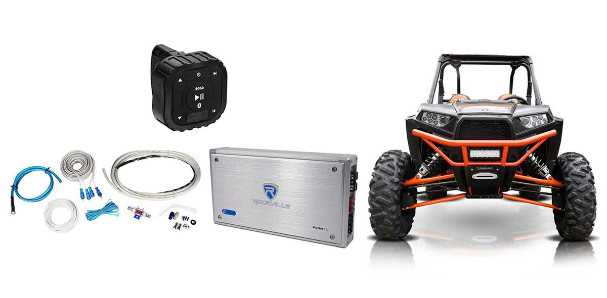 Boss Audio Bluetooth Controller+2-Ch Ampifier+Wire Kit Polaris  RZR/ATV/UTV/Cart