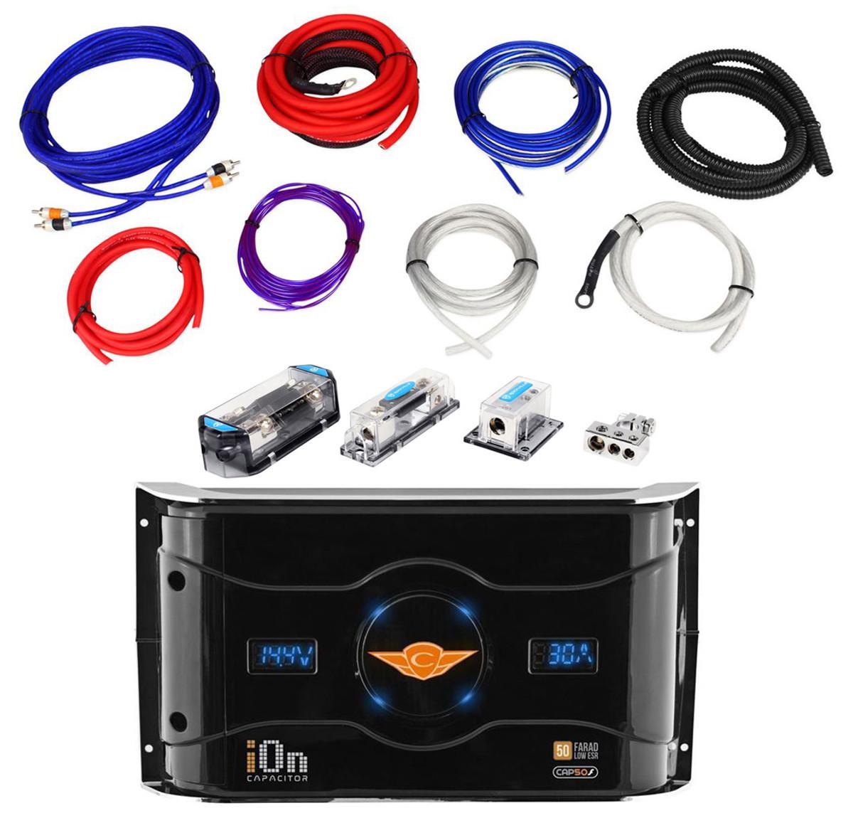 Rockville RDA0+4K 0/4 Gauge Dual Amp Install Kit + CAP50F 50 Farad on