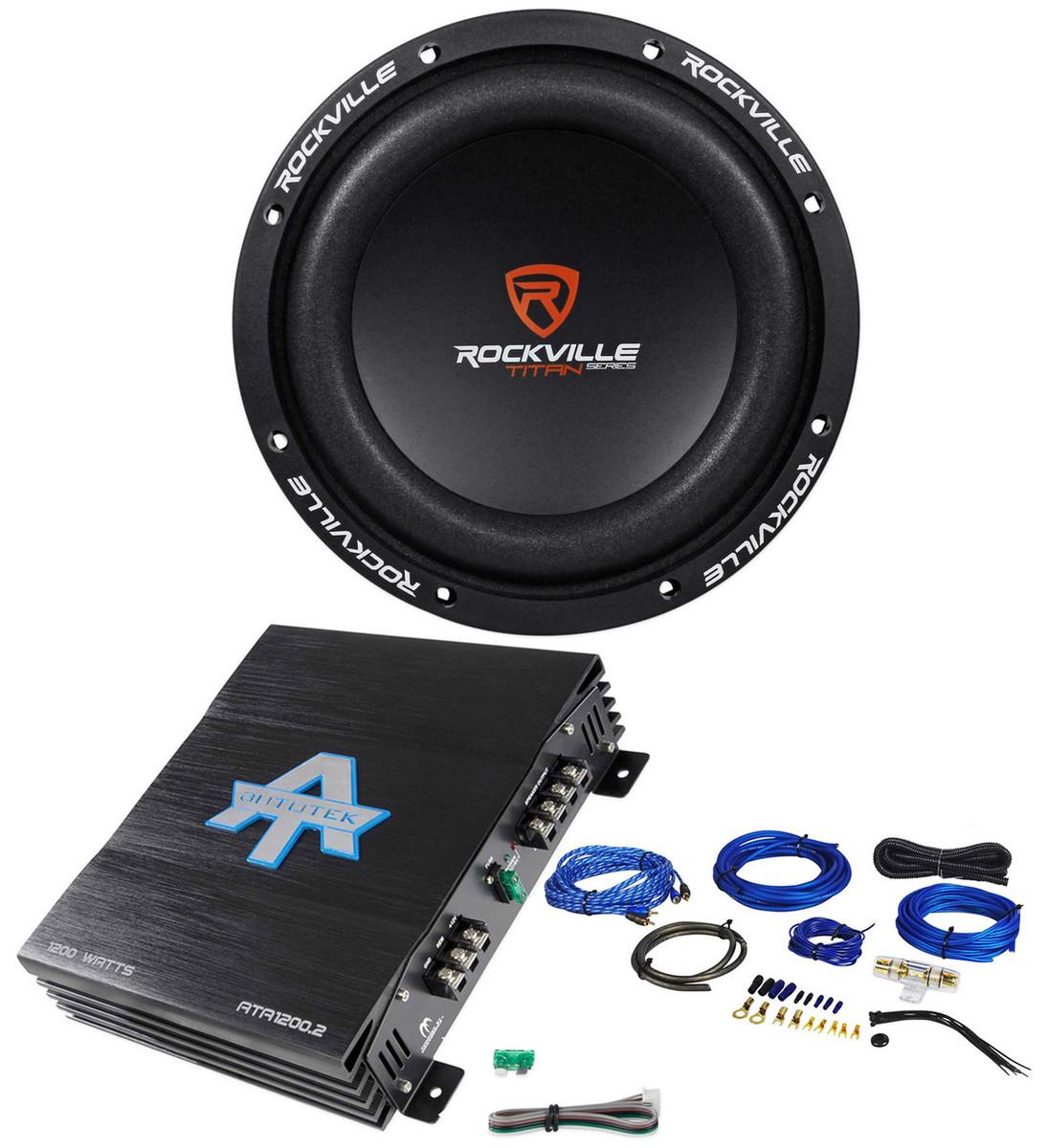 """Rockville W8K7-D2 8"""" 1200W Subwoofer+Autotek 1200 Watt 2-Ch Amplifier+Amp  Kit"""