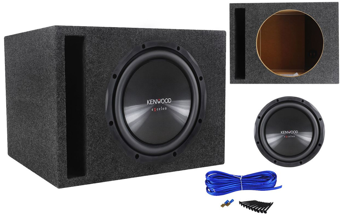 "Kenwood eXcelon KFC-XW12 12"" 1200 Watt Car Subwoofer+Vented Sub Box  Enclosure"