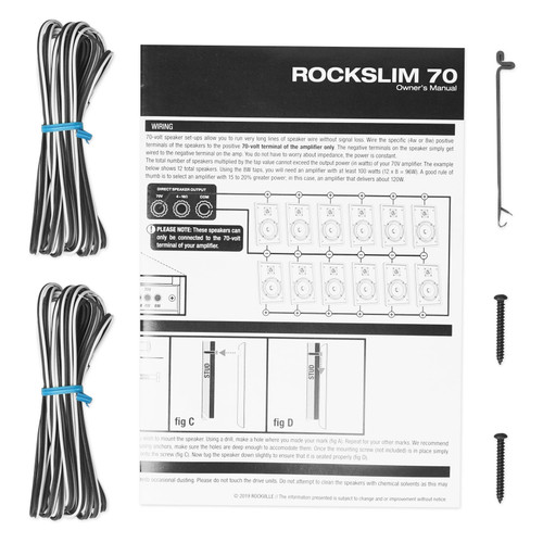 """Pair Rockville RockSlim 70B Black 5.25/"""" 70v Commercial Restaurant Wall Speakers"""