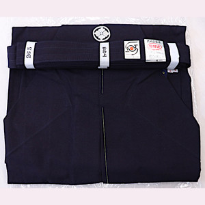 Kamon embroidered Cotton Aizome Hakama 26.5 - Outlet