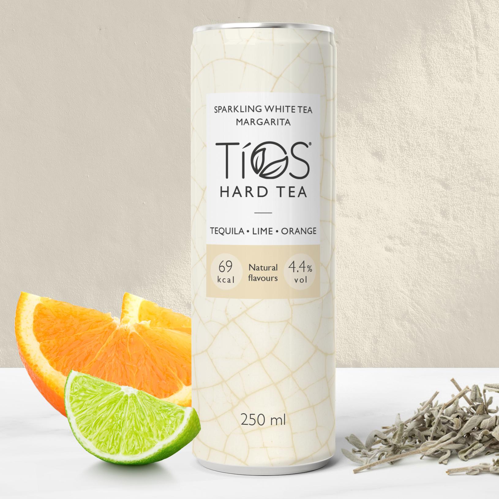 Tios White Tea Margarita can with ingredients