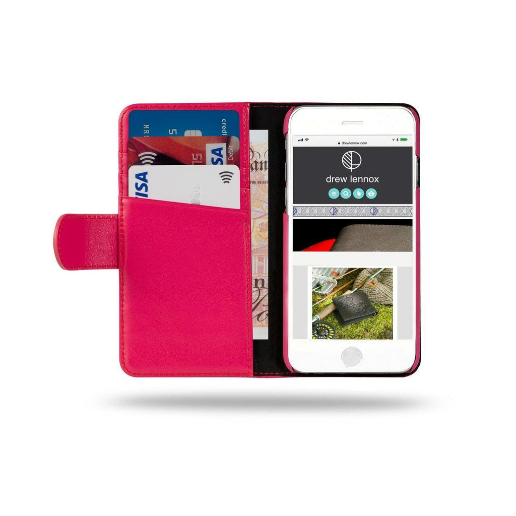 Ed Hicks Apple iPhone 6 6S Real Leather Wallet With Card Holder Slots Magnetic Tab Phone Case in Pink