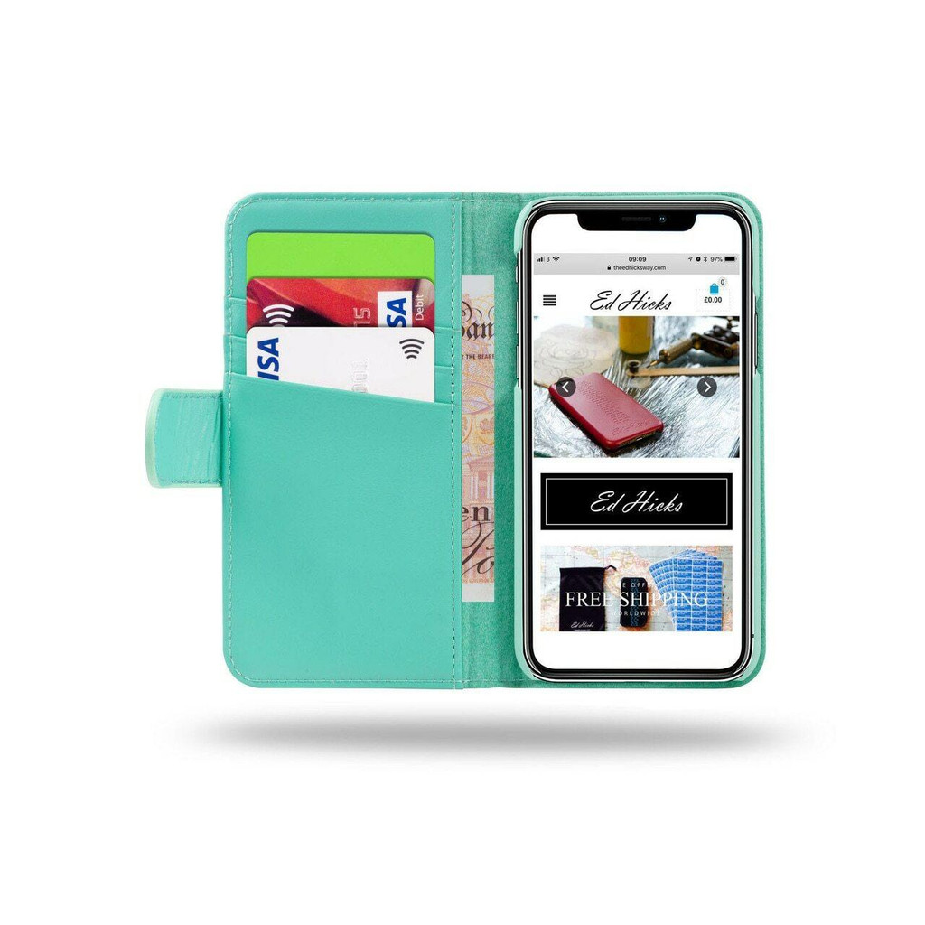 Women's Ed Hicks Apple iPhone 6 6S Real Leather Wallet With Card Holder Magnetic Phone Case
