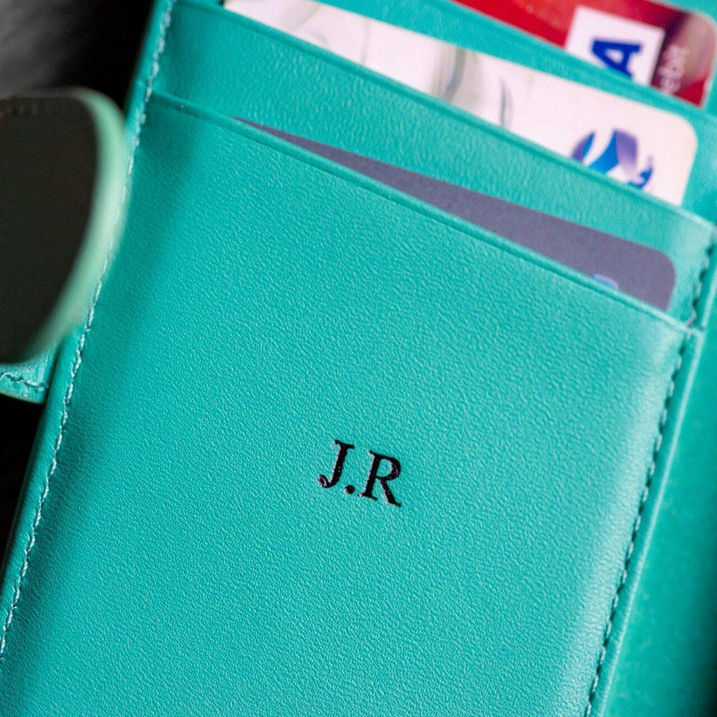 Ed Hicks Apple iPhone 6 6S Real Leather Wallet With Card Holder Magnetic Phone Case Personalised with initials