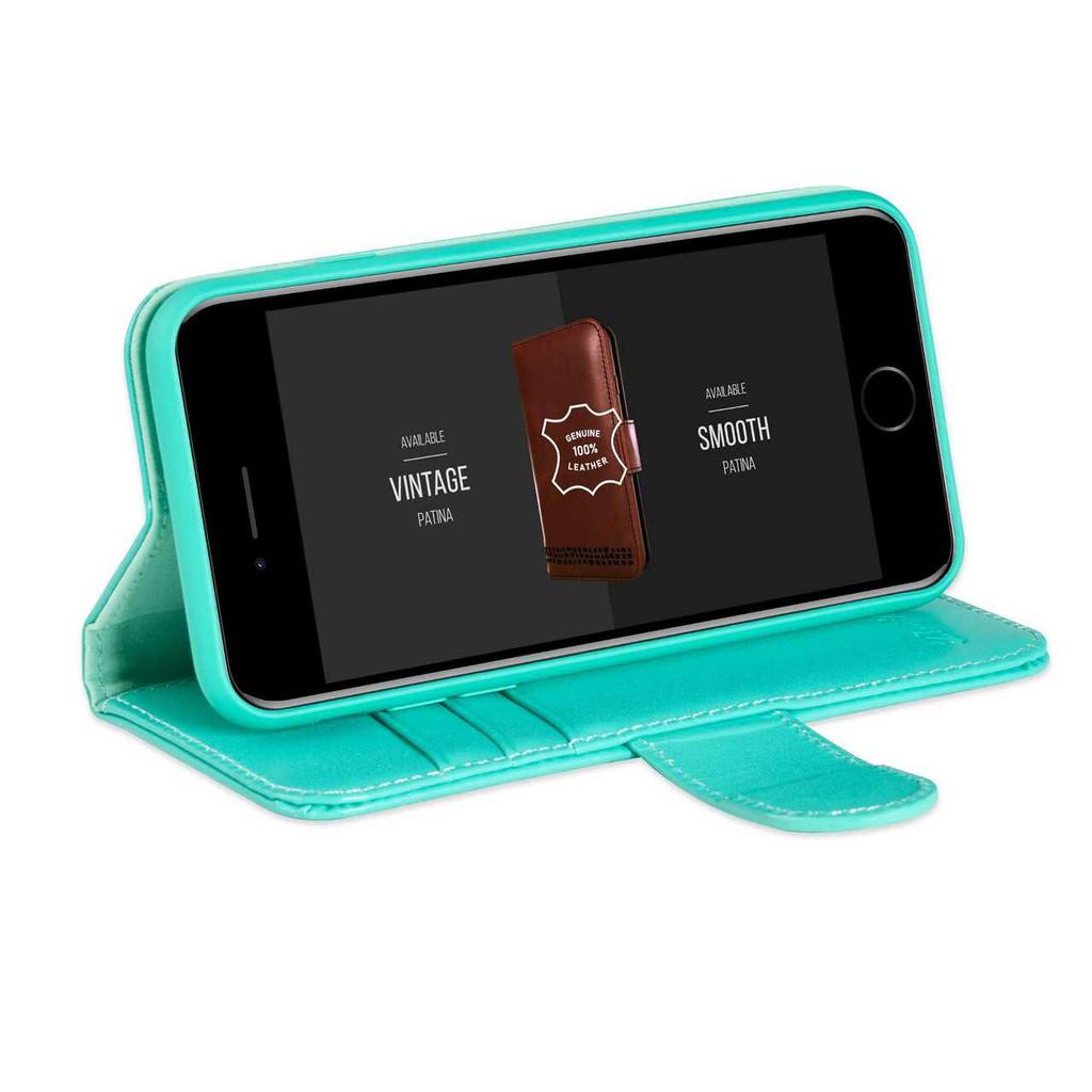 """Rila"" iPhone 6 6S Premium Genuine Leather Wallet Case - Turquoise"