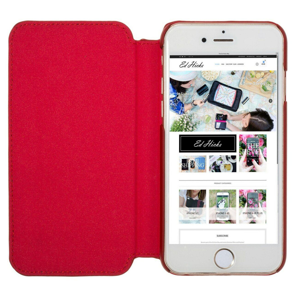 iPhone 7 Red Leather Ultra Slim Phone Case