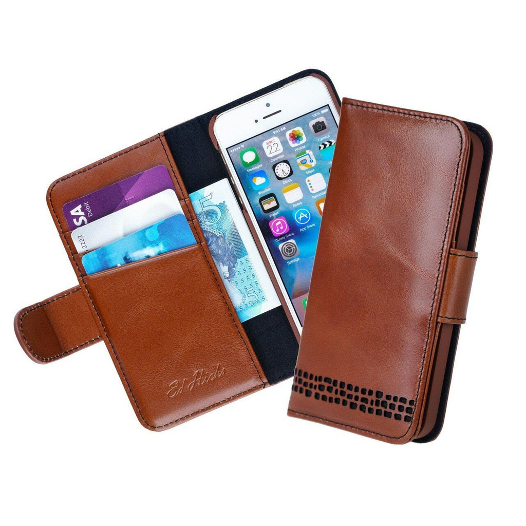 Ed Hicks iPhone 8 Real Leather Wallet Flip Phone Case Brown card slots
